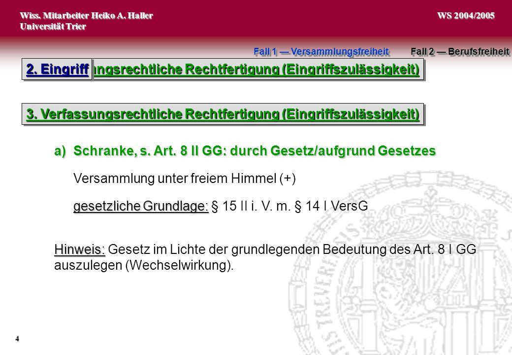 Wiss. Mitarbeiter Heiko A. Haller Universität Trier 4 WS 2004/2005 3. Verfassungsrechtliche Rechtfertigung (Eingriffszulässigkeit) 2. Eingriff 3. Verf