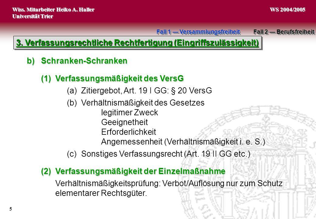 Wiss. Mitarbeiter Heiko A. Haller Universität Trier 5 WS 2004/2005 3. Verfassungsrechtliche Rechtfertigung (Eingriffszulässigkeit) b)Schranken-Schrank