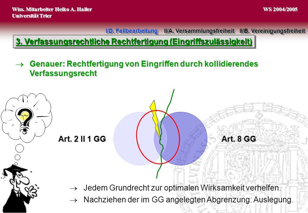 Wiss. Mitarbeiter Heiko A. Haller Universität Trier 8 WS 2004/2005 Art. 2 II 1 GG Art. 8 GG I/D. Fallbearbeitung II/A. Versammlungsfreiheit II/B. Vere