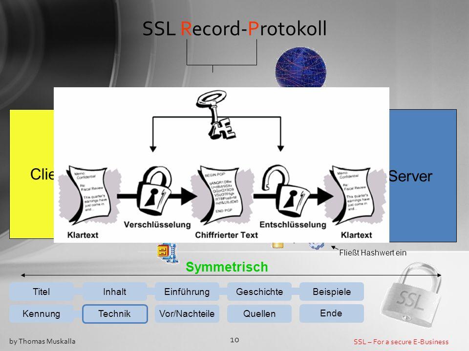 SSL – For a secure E-Business 10 by Thomas Muskalla SSL Record-Protokoll EinführungGeschichteBeispiele Kennung Technik Vor/NachteileQuellen Ende Inhal