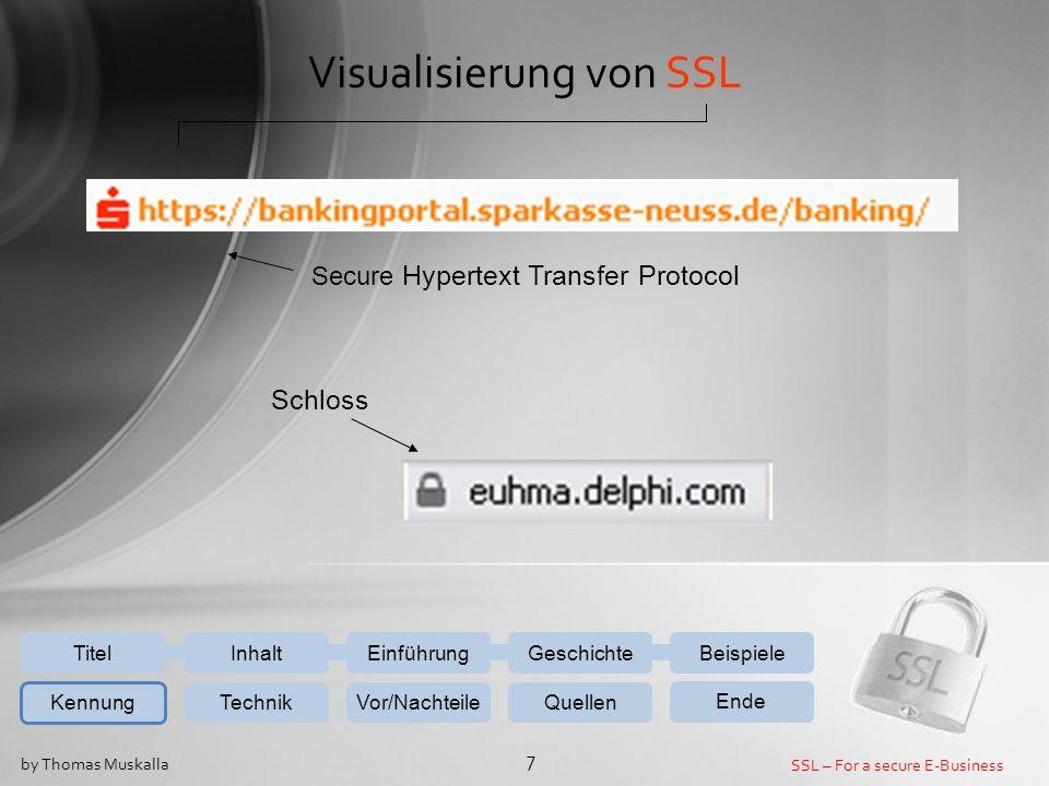 SSL – For a secure E-Business 7 by Thomas Muskalla EinführungGeschichteBeispiele Kennung TechnikVor/NachteileQuellen Ende InhaltTitel Secure Hypertext