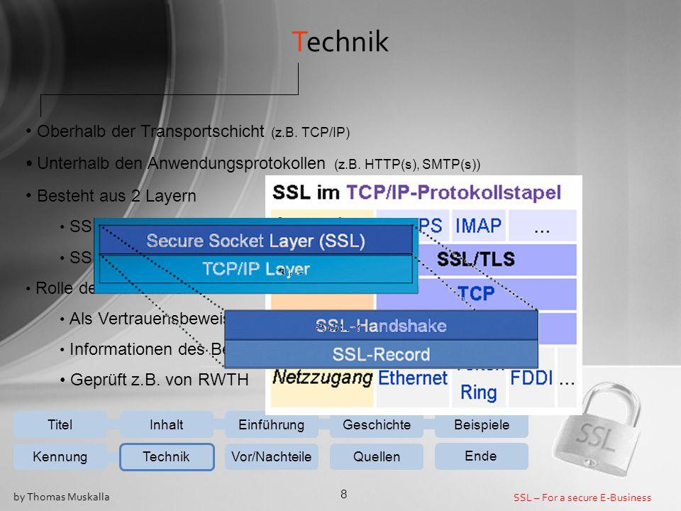 SSL – For a secure E-Business 8 by Thomas Muskalla Technik Oberhalb der Transportschicht (z.B. TCP/IP) Unterhalb den Anwendungsprotokollen (z.B. HTTP(
