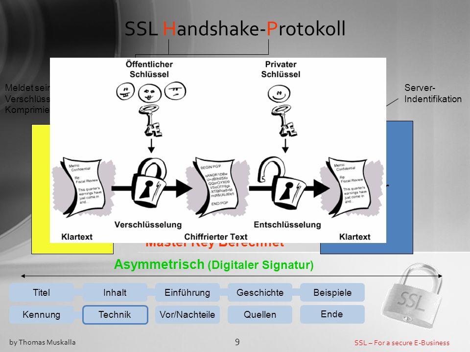 SSL – For a secure E-Business 10 by Thomas Muskalla SSL Record-Protokoll EinführungGeschichteBeispiele Kennung Technik Vor/NachteileQuellen Ende InhaltTitel Client Server Datenaustausch Daten SSL- Plaintext Fragmentierung SSL- Compressed Komprimierung SSL-Cipher Verschlüsselung + MAC + Fließt Hashwert ein Symmetrisch