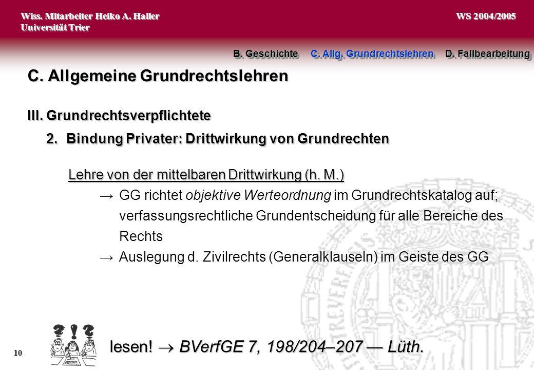 Wiss. Mitarbeiter Heiko A. Haller Universität Trier 10 WS 2004/2005 2.Bindung Privater: Drittwirkung von Grundrechten C. Allgemeine Grundrechtslehren