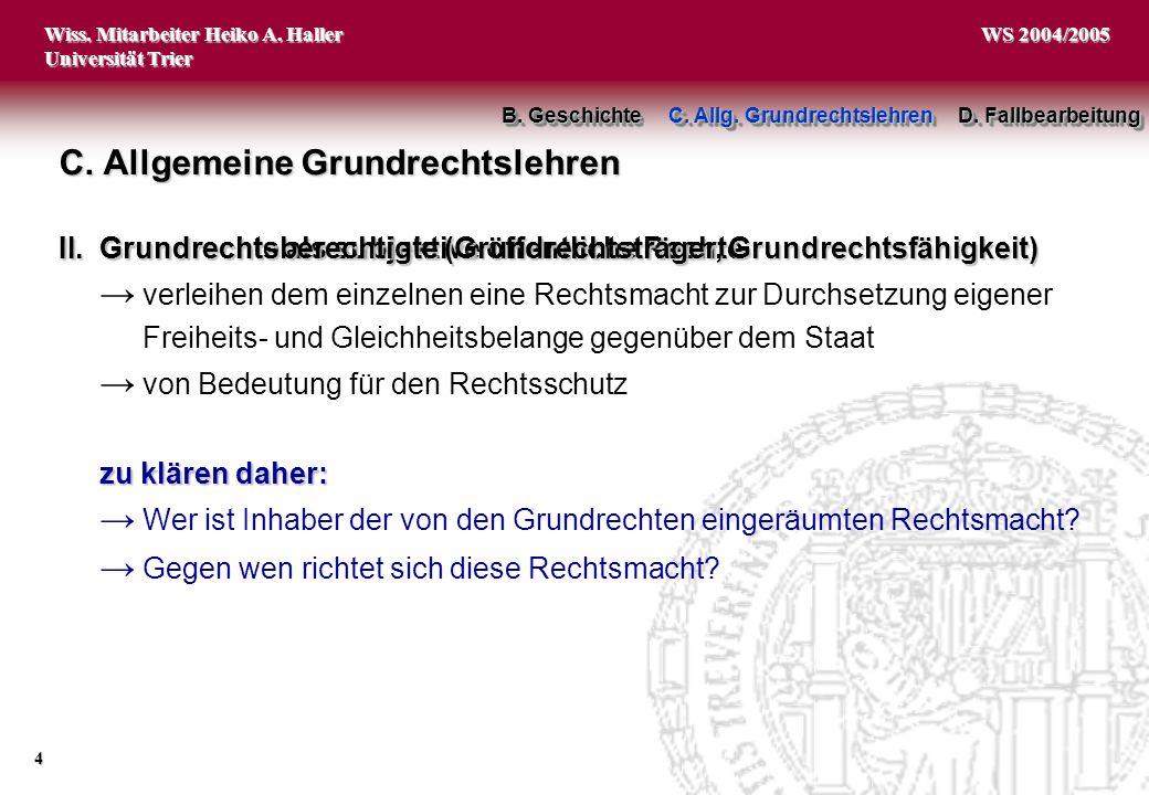 Wiss. Mitarbeiter Heiko A. Haller Universität Trier 4 WS 2004/2005 C. Allgemeine Grundrechtslehren I.Grundrechte als subjektive öffentliche Rechte ver