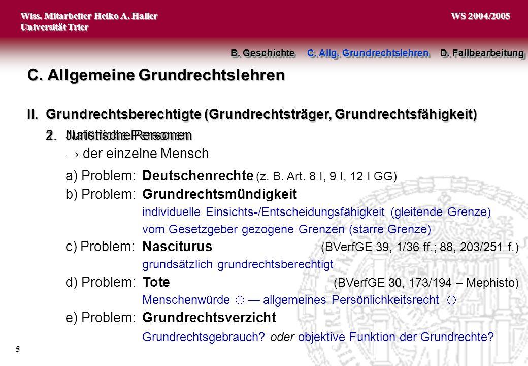 Wiss. Mitarbeiter Heiko A. Haller Universität Trier 5 WS 2004/2005 1.Natürliche Personen der einzelne Mensch 2.Juristische Personen C. Allgemeine Grun