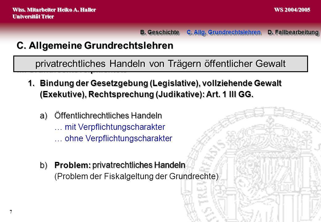 Wiss. Mitarbeiter Heiko A. Haller Universität Trier 7 WS 2004/2005 C. Allgemeine Grundrechtslehren B. Geschichte C. Allg. Grundrechtslehren D. Fallbea