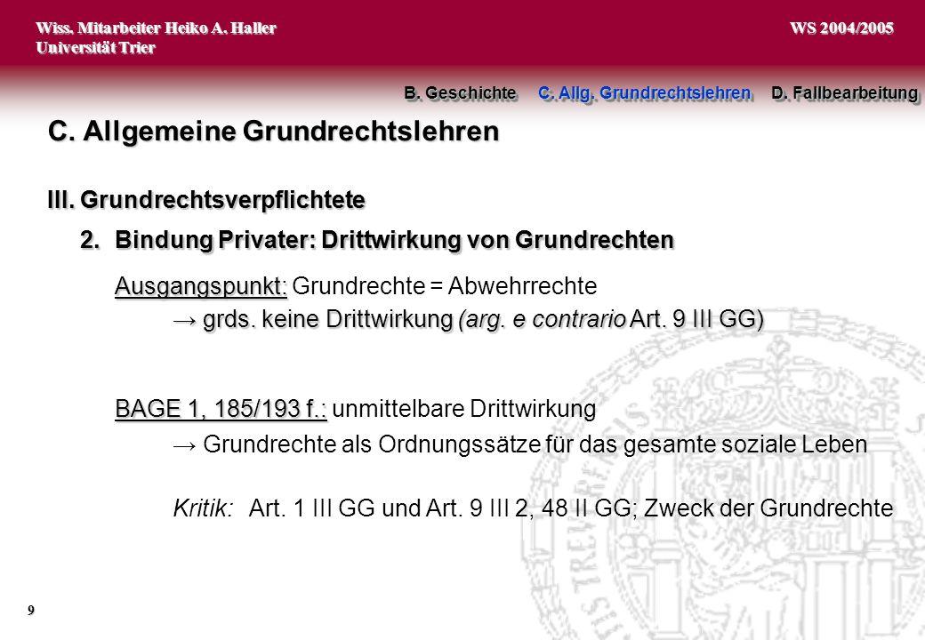 Wiss. Mitarbeiter Heiko A. Haller Universität Trier 9 WS 2004/2005 C. Allgemeine Grundrechtslehren BAGE 1, 185/193 f.: BAGE 1, 185/193 f.: unmittelbar