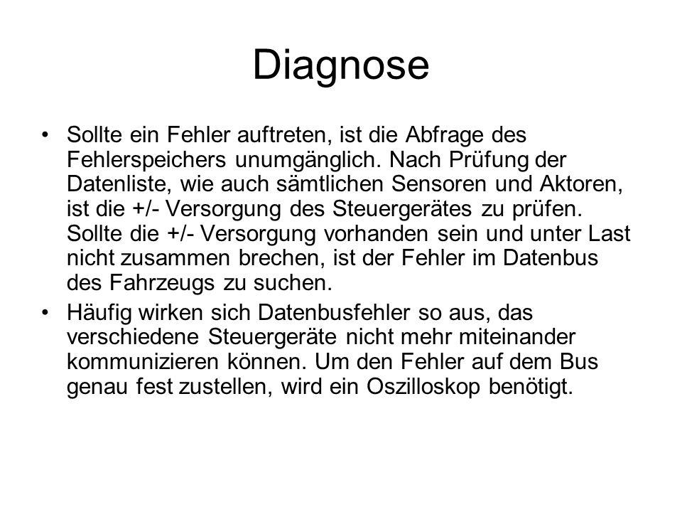 Diagnose Sollte ein Fehler auftreten, ist die Abfrage des Fehlerspeichers unumgänglich. Nach Prüfung der Datenliste, wie auch sämtlichen Sensoren und