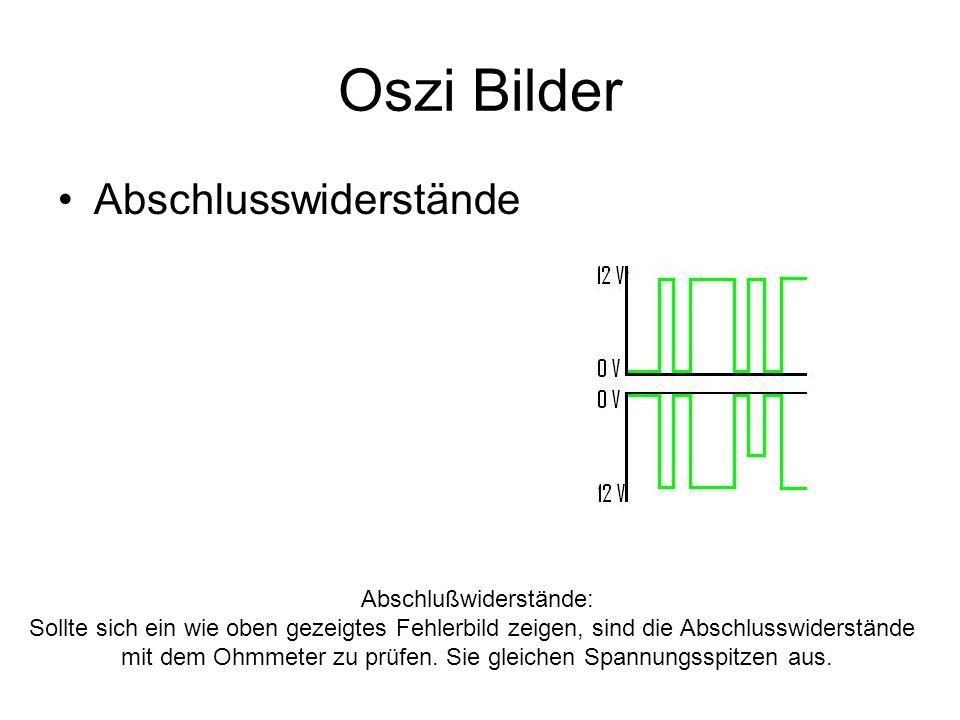 Oszi Bilder Abschlusswiderstände Abschlußwiderstände: Sollte sich ein wie oben gezeigtes Fehlerbild zeigen, sind die Abschlusswiderstände mit dem Ohmm