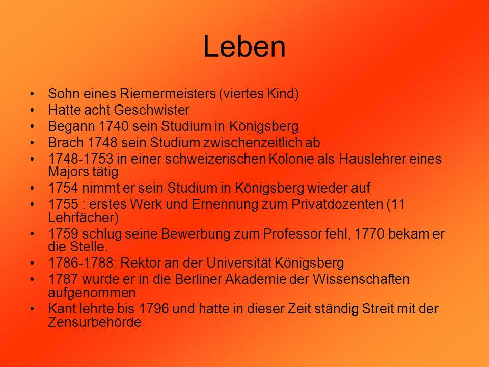 Leben Sohn eines Riemermeisters (viertes Kind) Hatte acht Geschwister Begann 1740 sein Studium in Königsberg Brach 1748 sein Studium zwischenzeitlich