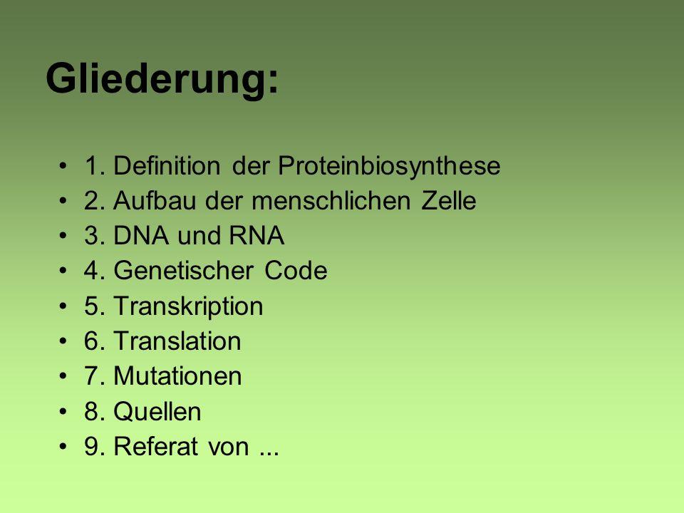 Gliederung: 1.Definition der Proteinbiosynthese 2.