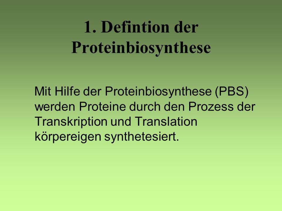 Gliederung: 1. Definition der Proteinbiosynthese 2. Aufbau der menschlichen Zelle 3. DNA und RNA 4. Genetischer Code 5. Transkription 6. Translation 7
