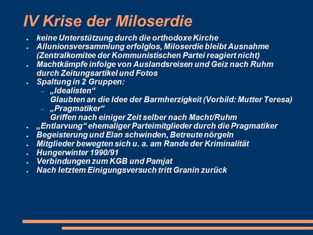 IV Krise der Miloserdie keine Unterstützung durch die orthodoxe Kirche Allunionsversammlung erfolglos, Miloserdie bleibt Ausnahme (Zentralkomitee der