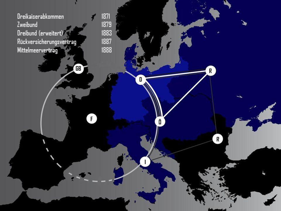 Dreikaiserabkommen 1871 Zweibund 1879 Dreibund (erweitert)1883 Rückversicherungsvertrag1887 Mittelmeervertrag1888