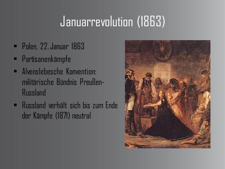 Januarrevolution (1863) Polen, 22. Januar 1863 Partisanenkämpfe Alvenslebesche Konvention: militärische Bündnis Preußen- Russland Russland verhält sic