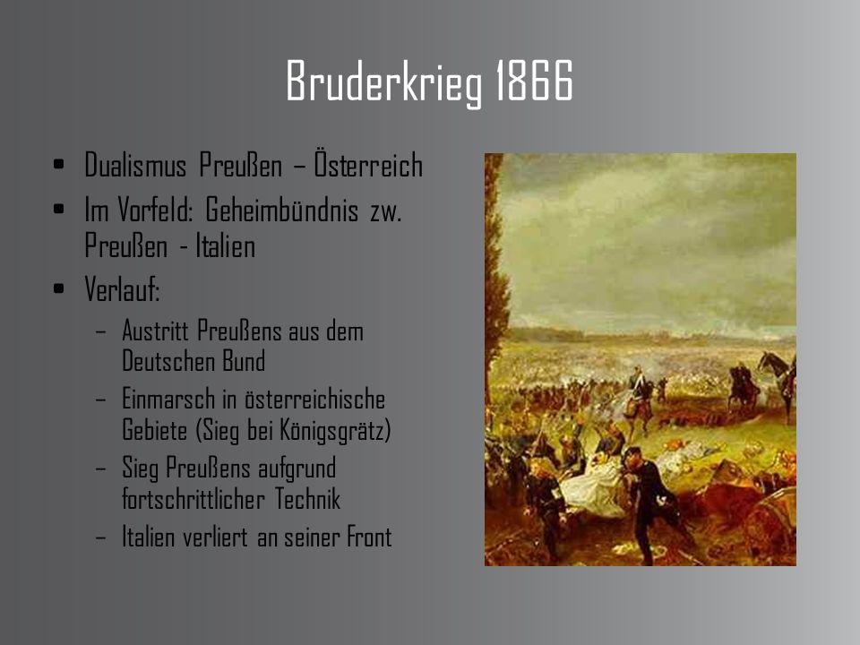 Bruderkrieg 1866 Dualismus Preußen – Österreich Im Vorfeld: Geheimbündnis zw. Preußen - Italien Verlauf: –Austritt Preußens aus dem Deutschen Bund –Ei