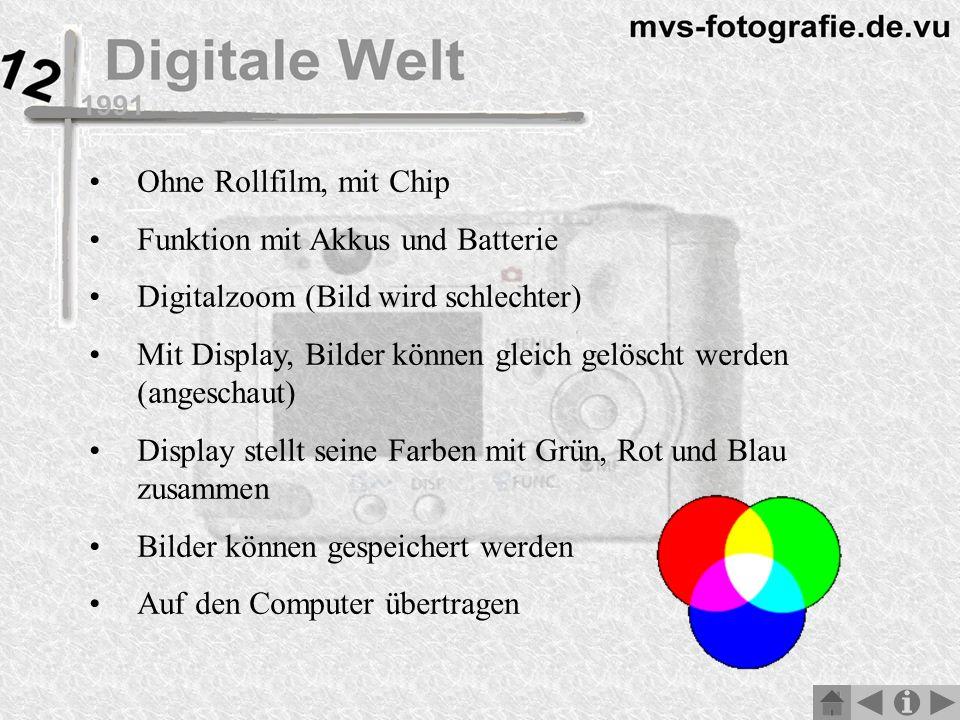 Ohne Rollfilm, mit Chip Funktion mit Akkus und Batterie Digitalzoom (Bild wird schlechter) Mit Display, Bilder können gleich gelöscht werden (angeschaut) Display stellt seine Farben mit Grün, Rot und Blau zusammen Bilder können gespeichert werden Auf den Computer übertragen