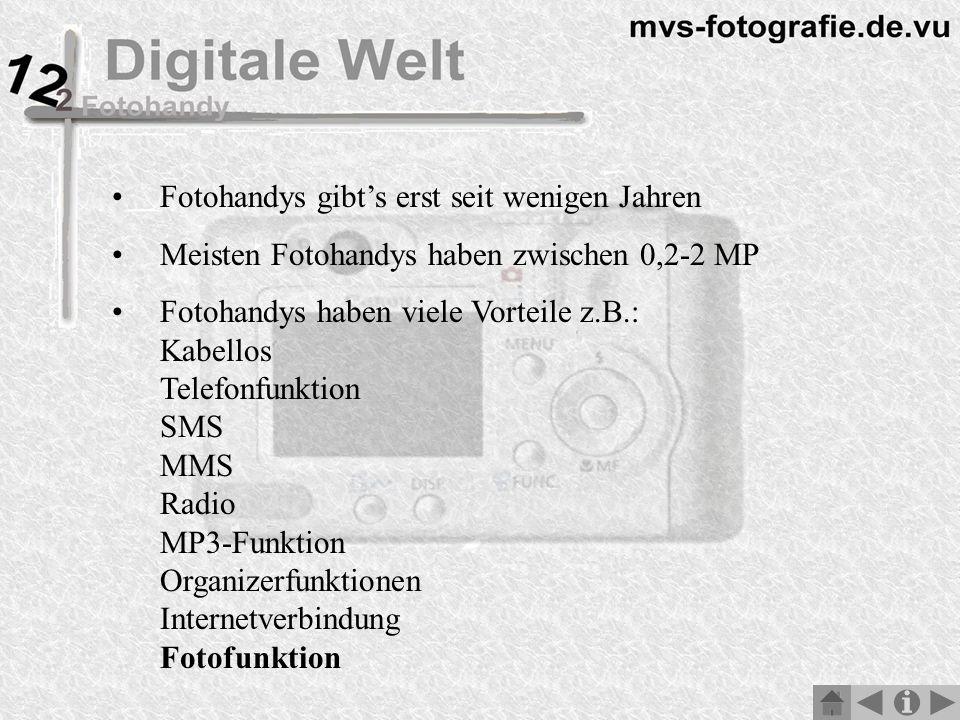 Fotohandys gibts erst seit wenigen Jahren Meisten Fotohandys haben zwischen 0,2-2 MP Fotohandys haben viele Vorteile z.B.: Kabellos Telefonfunktion SMS MMS Radio MP3-Funktion Organizerfunktionen Internetverbindung Fotofunktion
