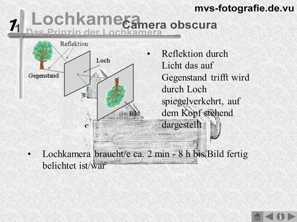 Reflektion durch Licht das auf Gegenstand trifft wird durch Loch spiegelverkehrt, auf dem Kopf stehend dargestellt Lochkamera braucht/e ca.