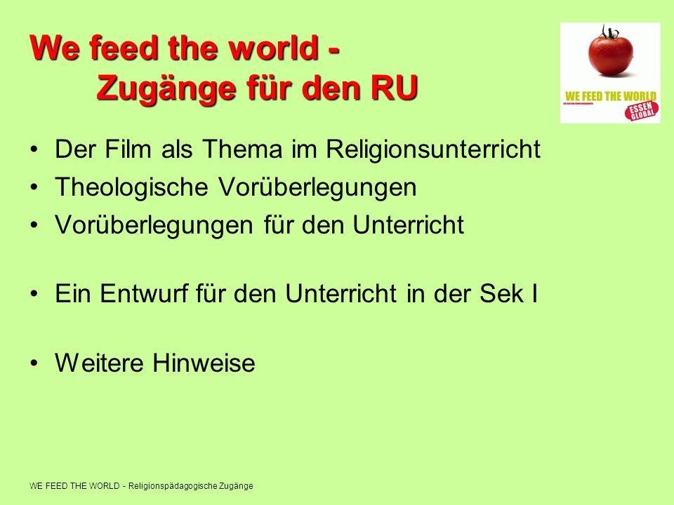 WE FEED THE WORLD - Religionspädagogische Zugänge We feed the world - Zugänge für den RU Der Film als Thema im Religionsunterricht Theologische Vorübe