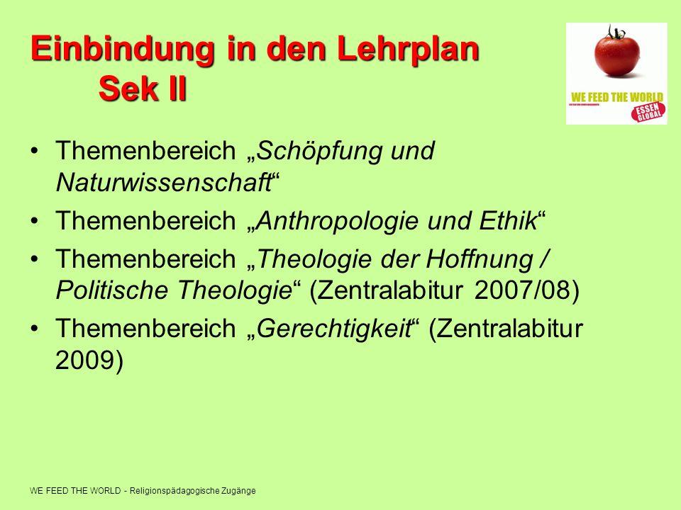 WE FEED THE WORLD - Religionspädagogische Zugänge Einbindung in den Lehrplan Sek II Themenbereich Schöpfung und Naturwissenschaft Themenbereich Anthro