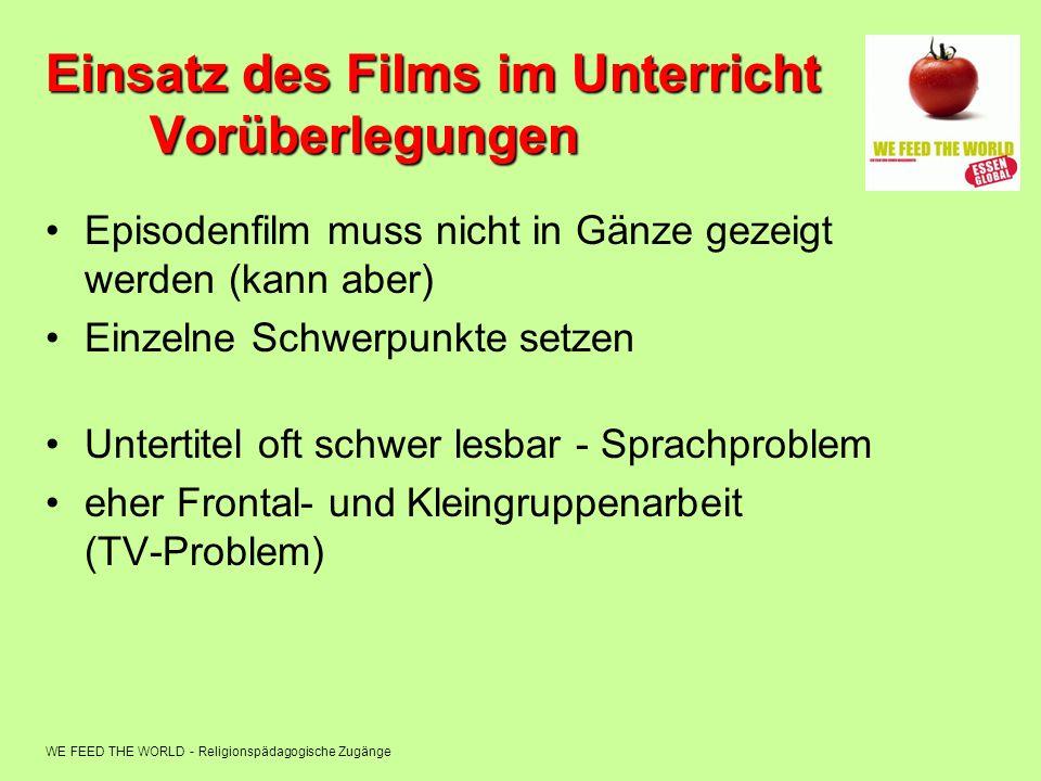 WE FEED THE WORLD - Religionspädagogische Zugänge Einsatz des Films im Unterricht Vorüberlegungen Episodenfilm muss nicht in Gänze gezeigt werden (kan