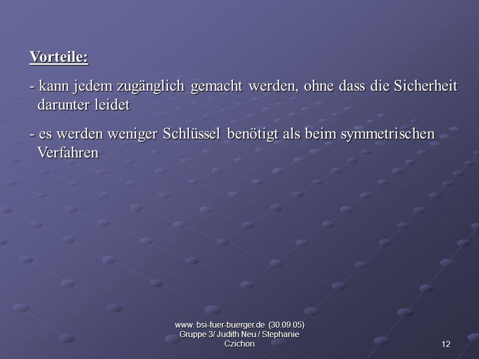 12 www. bsi-fuer-buerger.de (30.09.05) Gruppe 3/ Judith Neu / Stephanie Czichon Vorteile: - kann jedem zugänglich gemacht werden, ohne dass die Sicher