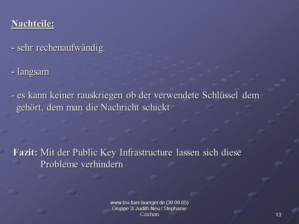 13 www.bsi-fuer-buerger.de (30.09.05) Gruppe 3/ Judith Neu / Stephanie Czichon Nachteile: - sehr rechenaufwändig - langsam - es kann keiner rauskriege