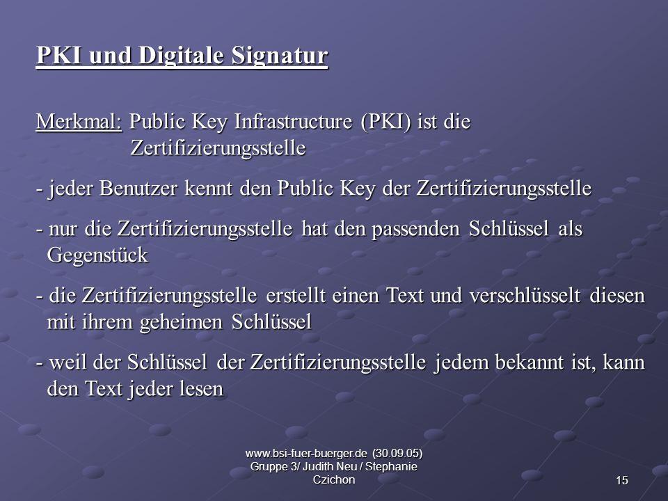 15 www.bsi-fuer-buerger.de (30.09.05) Gruppe 3/ Judith Neu / Stephanie Czichon PKI und Digitale Signatur Merkmal: Public Key Infrastructure (PKI) ist
