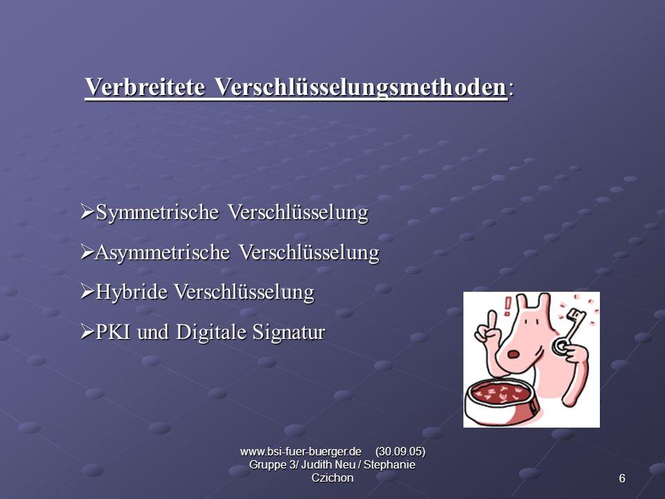 6 www.bsi-fuer-buerger.de (30.09.05) Gruppe 3/ Judith Neu / Stephanie Czichon Verbreitete Verschlüsselungsmethoden: Symmetrische Verschlüsselung Symme