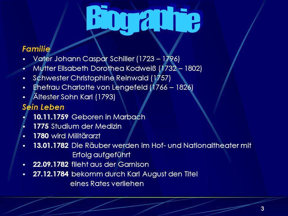 3 Familie Vater Johann Caspar Schiller (1723 – 1796) Mutter Elisabeth Dorothea Kodweiß (1732 – 1802) Schwester Christophine Reinwald (1757) Ehefrau Charlotte von Lengefeld (1766 – 1826) Ältester Sohn Karl (1793) Sein Leben 10.11.1759 Geboren in Marbach 1775 Studium der Medizin 1780 wird Militärarzt 13.01.1782 Die Räuber werden im Hof- und Nationaltheater mit Erfolg aufgeführt 22.09.1782 flieht aus der Garnison 27.12.1784 bekomm durch Karl August den Titel eines Rates verliehen Sein Leben