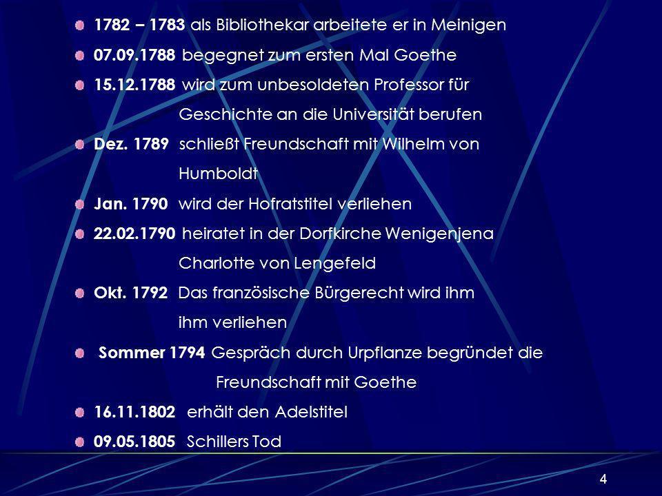 4 22.09.1782 flieht aus der Garnison 1782 – 1783 als Bibliothekar arbeitete er in Meinigen 07.09.1788 begegnet zum ersten Mal Goethe 15.12.1788 wird zum unbesoldeten Professor für Geschichte an die Universität berufen Dez.
