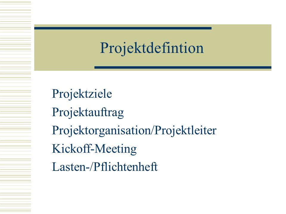 Projektdefintion Projektziele Projektauftrag Projektorganisation/Projektleiter Kickoff-Meeting Lasten-/Pflichtenheft