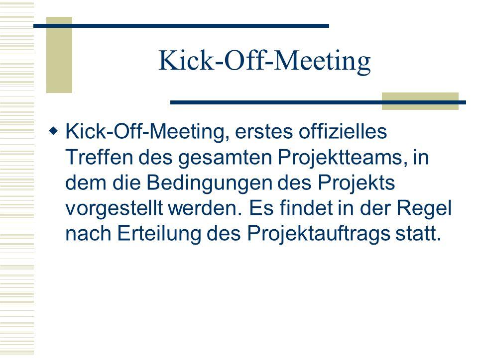 Kick-Off-Meeting Kick-Off-Meeting, erstes offizielles Treffen des gesamten Projektteams, in dem die Bedingungen des Projekts vorgestellt werden. Es fi