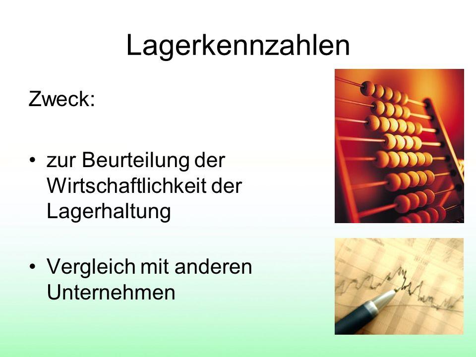 Lagerkennzahlen Zweck: zur Beurteilung der Wirtschaftlichkeit der Lagerhaltung Vergleich mit anderen Unternehmen