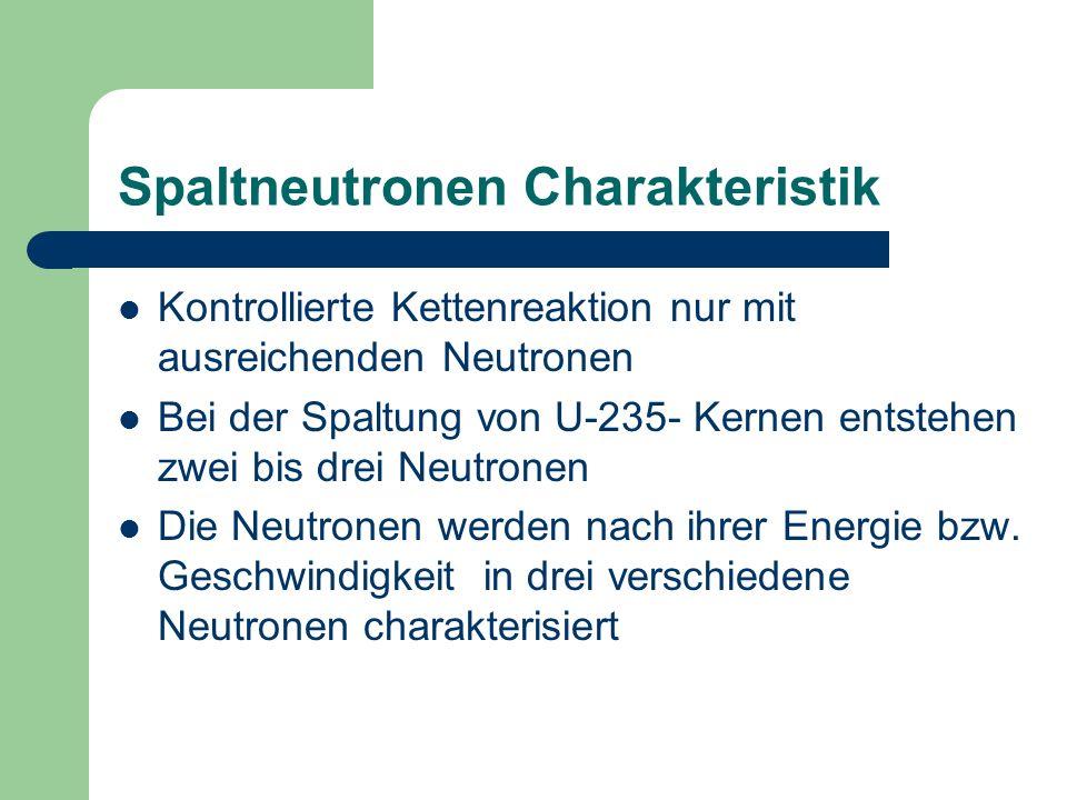 Spaltneutronen Charakteristik Kontrollierte Kettenreaktion nur mit ausreichenden Neutronen Bei der Spaltung von U-235- Kernen entstehen zwei bis drei