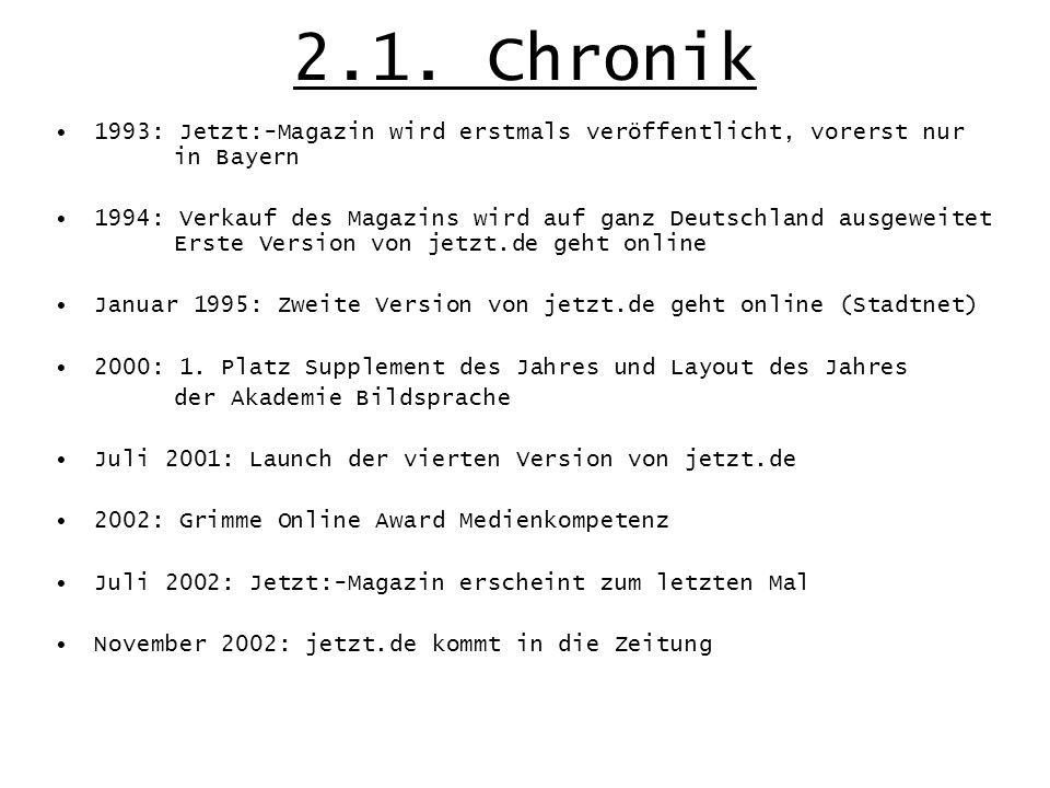 2.1. Chronik 1993: Jetzt:-Magazin wird erstmals veröffentlicht, vorerst nur in Bayern 1994: Verkauf des Magazins wird auf ganz Deutschland ausgeweitet