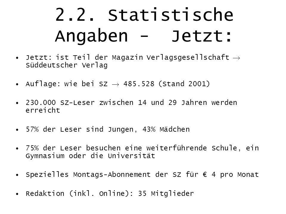 2.2. Statistische Angaben - Jetzt: Jetzt: ist Teil der Magazin Verlagsgesellschaft Süddeutscher Verlag Auflage: wie bei SZ 485.528 (Stand 2001) 230.00