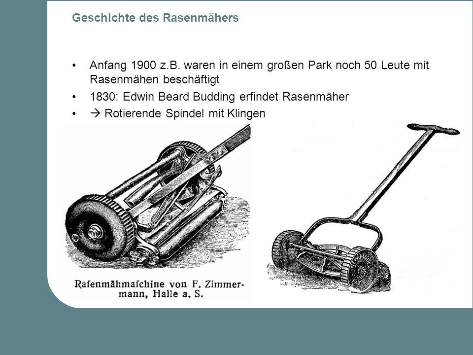 Geschichte des Rasenmähers Anfang 1900 z.B.