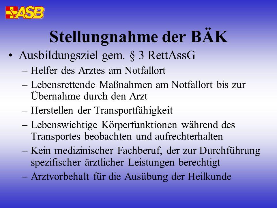 Stellungnahme der BÄK Ausbildungsziel gem.