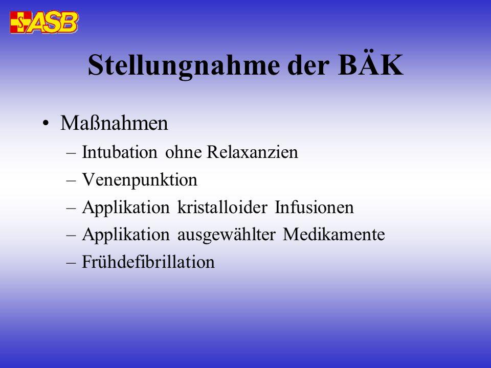 Stellungnahme der BÄK Maßnahmen –Intubation ohne Relaxanzien –Venenpunktion –Applikation kristalloider Infusionen –Applikation ausgewählter Medikamente –Frühdefibrillation