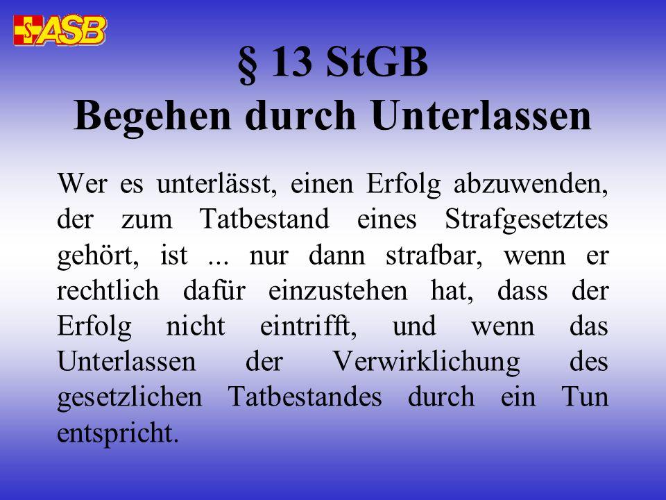 § 13 StGB Begehen durch Unterlassen Wer es unterlässt, einen Erfolg abzuwenden, der zum Tatbestand eines Strafgesetztes gehört, ist...