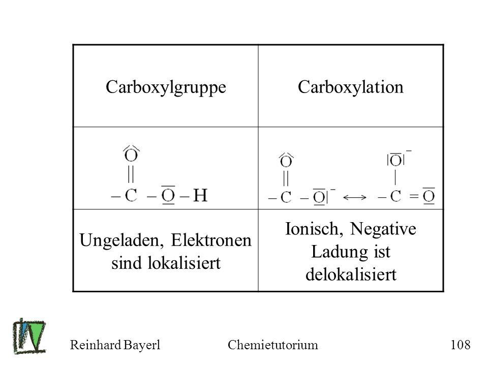 Reinhard BayerlChemietutorium108 CarboxylgruppeCarboxylation Ungeladen, Elektronen sind lokalisiert Ionisch, Negative Ladung ist delokalisiert