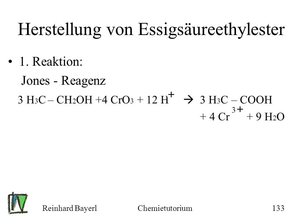 Reinhard BayerlChemietutorium133 Herstellung von Essigsäureethylester 1. Reaktion: Jones - Reagenz 3 H 3 C – CH 2 OH +4 CrO 3 + 12 H 3 H 3 C – COOH +