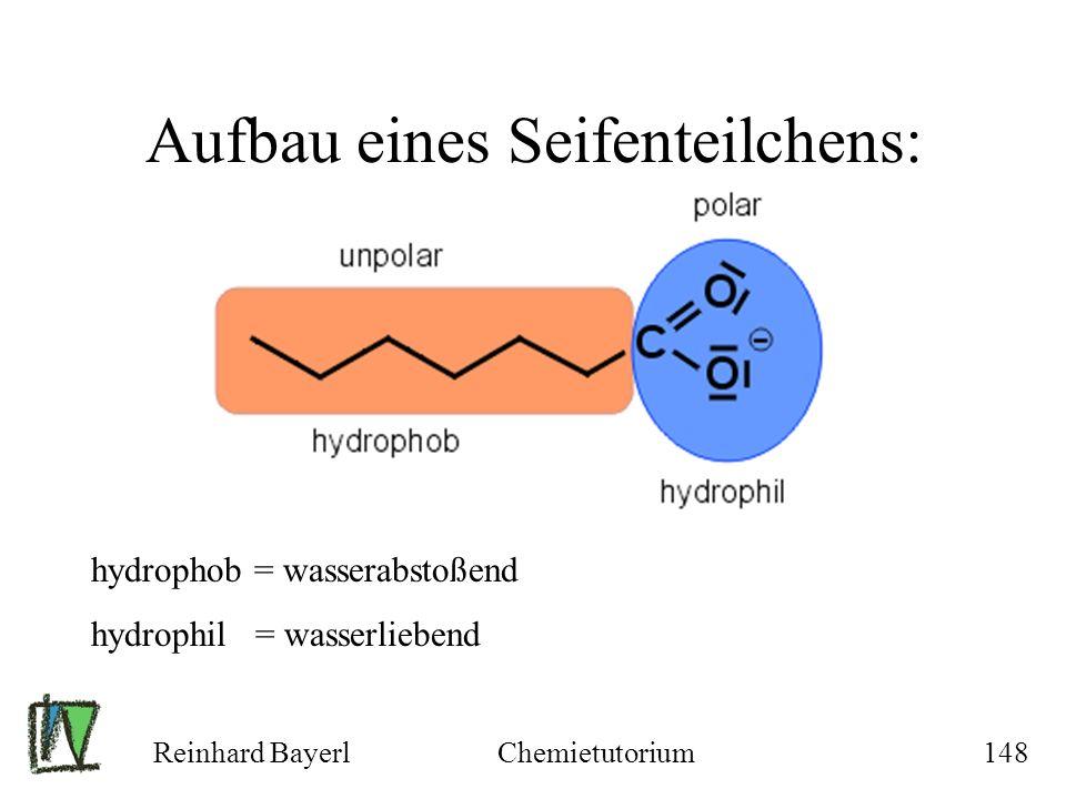 Reinhard BayerlChemietutorium148 Aufbau eines Seifenteilchens: hydrophob = wasserabstoßend hydrophil = wasserliebend