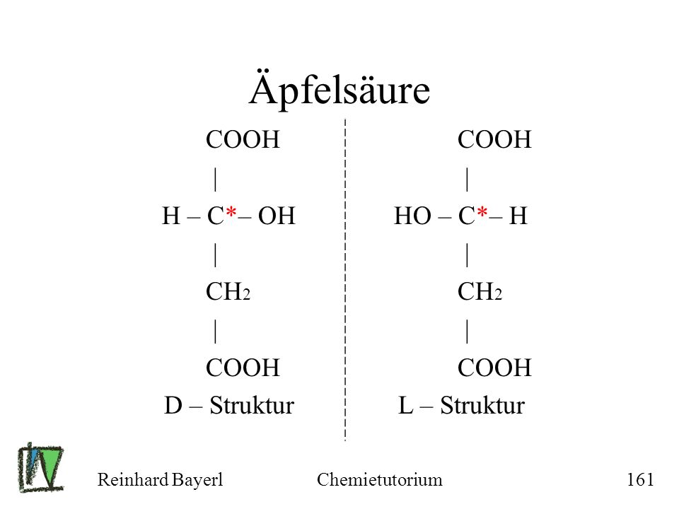 Reinhard BayerlChemietutorium161 Äpfelsäure COOH | H – C*– OH | CH 2 | COOH D – Struktur COOH | HO – C*– H | CH 2 | COOH L – Struktur