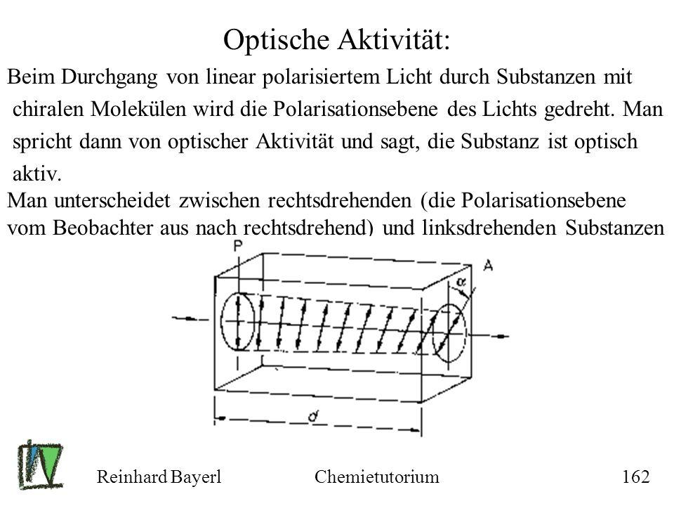 Reinhard BayerlChemietutorium162 Optische Aktivität: Beim Durchgang von linear polarisiertem Licht durch Substanzen mit chiralen Molekülen wird die Po