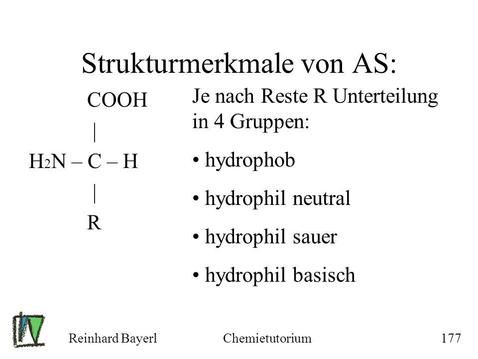 Reinhard BayerlChemietutorium177 Strukturmerkmale von AS: COOH | H 2 N – C – H | R Je nach Reste R Unterteilung in 4 Gruppen: hydrophob hydrophil neut