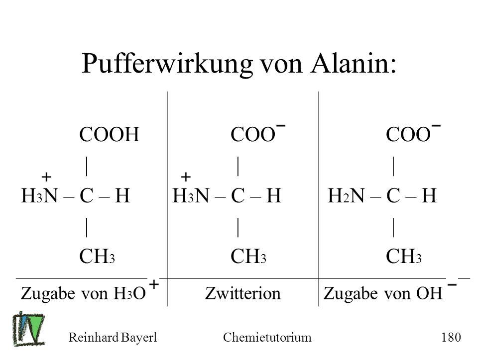 Reinhard BayerlChemietutorium180 Pufferwirkung von Alanin: COO | H 3 N – C – H | CH 3 Zugabe von H 3 OZwitterionZugabe von OH COOH | H 3 N – C – H | C